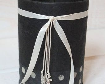 Pencil holder (No. 107) dyed black with polka dots