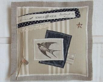 Modern painting on linen fabric (n ° 3) bird