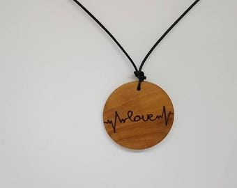 Love heartbeat wooden pendant, pyrography, woodburning, all natural, jewelry, necklace, wood, nature