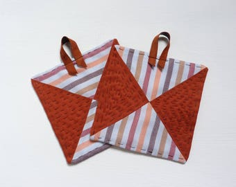 Set of two patchwork style kitchen potholders