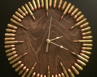 Bullet Clock with inert ammo.  Great gift for shooters, hunters, military, man cave, gun gift! Immediate Shipping Available!