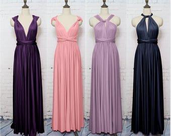Purple Infinity Bridesmaid Dress, Infinity Dress, Convertible Dress, Wrap Dress, Formal Dress, Multi-ways Dress, Floor Length, Long Dress