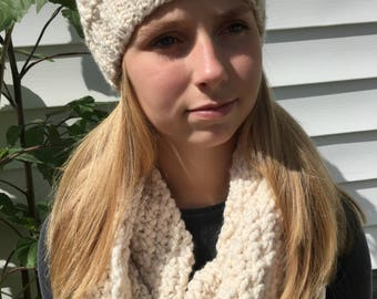 Hand knit hat and infinity scarf