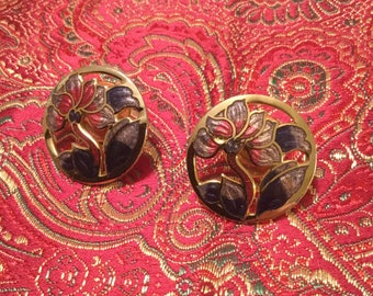 Purple Iris Cloisonné Post Earrings
