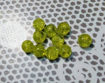 Set of 10 yellow Crackle glass beads 6 mm in diameter