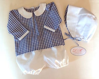 Blouse/shirt with bloomers and hat baby bonnet in blue and white gingham