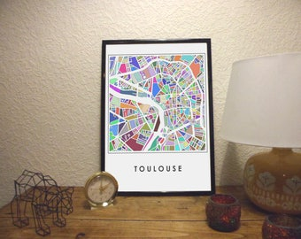 Post Plan de Toulouse 30 x 40 in colors on satin matte paper
