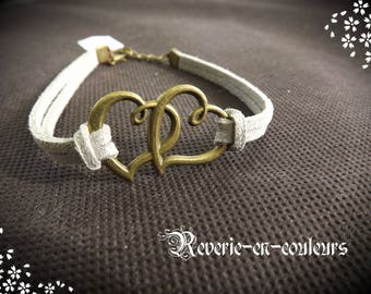 "Silver suede with ""Heart"" charm bracelet"