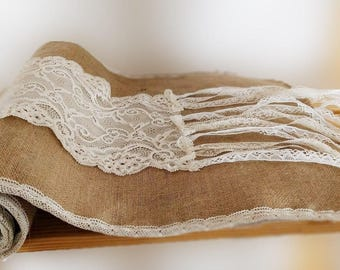 Jute and lace table runner