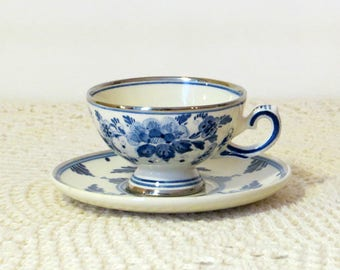 Delft Blau Holland Tea Cup and Saucer Dainty Hand Painted Blue Floral Design Silver Ring Edge Made in Holland Vintage Delft Blauw R.O.R.