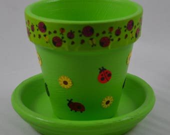 Lady Bugs All Over Small Hand Painted Flower Pot