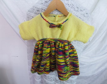 Baby dress in wool multicolor/yellow