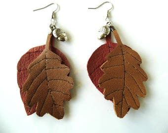 Earrings fall leather leaves
