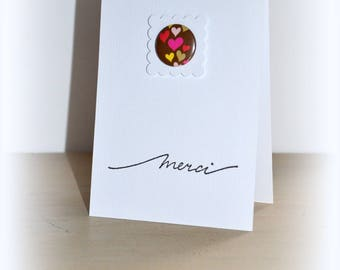 Thank you card with button and heart, envelope included