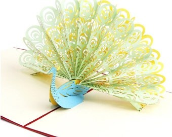 Handmade 3D pop up popup card green yellow peacock birthday Valentines mother's day Easter father's day wedding anniversay party invitation