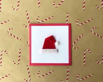 Felt Christmas Hat With Pom-pom Christmas Card or Set