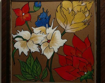 flower acrilec beautiful color painting with heavy elegant wood frame sizee(72.09*73.09)cm