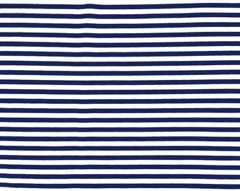 Navy and White Striped Spandex Nylon Lycra Fabric for Swimwear, Sportswear and Dancewear