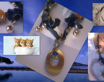 Textile necklace * DENIM and gold