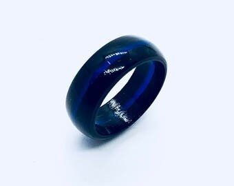 Thin Blue Line Ring - Ebony wood with Blue Resin Inlay / Male Rings / Great gift for him  or for her