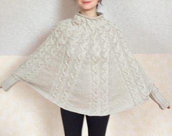 recycled wool poncho one size