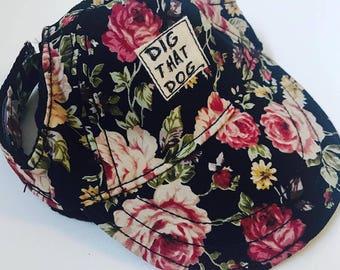 Dig That Dog - Black Floral Hat