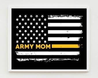 Army Mom Art Print, Proud Mom, Military Wall Art, US Flag, Decor