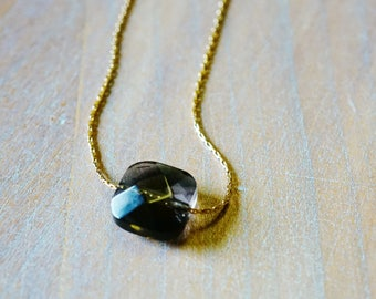 """Smoky Quartz"" Goldfilled 14 k gold necklace"