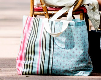 Scandinavian striped oilcloth Tote / blue
