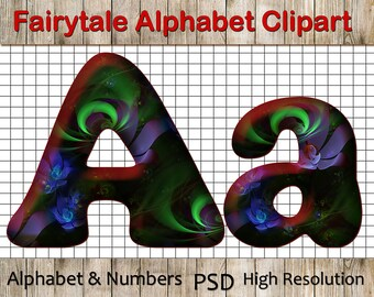 Fairytale clip art : Alphabet Clipart, ABC Letters, Fairytale Font, Fairytale Numbers, Photoshop design psd