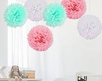 "6PCS 14""(35cm) Mixed Colour Tissue Paper Pom Poms Flowers White Pink & Mint, Tissue Paper Handmade Balls Festival Hanging Decorations"