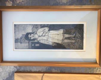 Vintage Original Etching, 'Mexico,'  by Jack Bilander, Matted, Framed, Signed