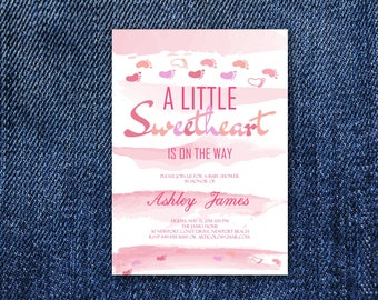 Baby Shower Invitation Little Sweetheart Invitation, Watercolor Shower Invitation, Baby Girl Sprinkle Invite, Sweetheart On The Way Baby