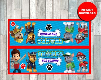 Printable Paw patrol Bag toppers instant download, Paw Patrol party Bags, Printable Paw Patrol Treat bags toppers