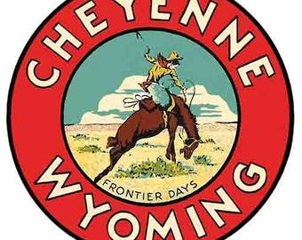 Vintage Style Cheyenne Wyoming   WY   National Park    1950's   Travel Decal sticker