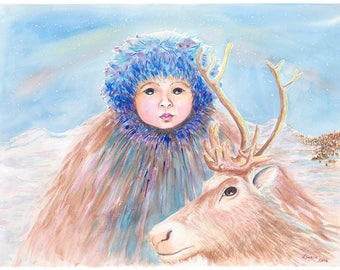 """Reindeer Boy Christmas Card, 5"""" x 7"""" Folded Note Card printed on 100 lb weight paper with satin cover, with envelope"""