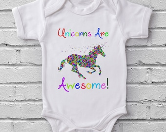 Unicorns Are Awesome Fairytale baby grow bodysuit onesie baby shower gift