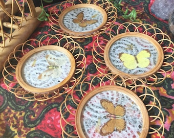 Vintage 70's/80's coasters, pressed butterfly and wicker coasters, set of 4, boho coasters