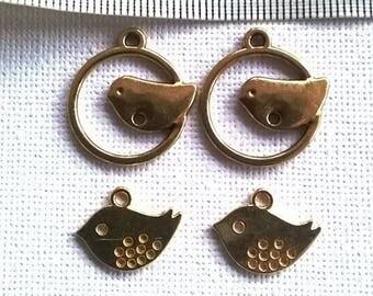 set of 4 gold metal bird charms