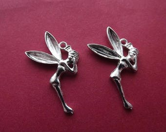 4 charms large fairies in bright silver
