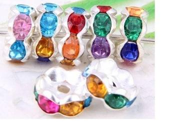 20 multicolored beads serrated aluminum and rhinestones
