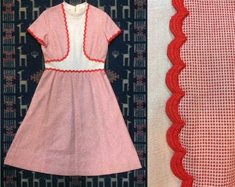 """1960s Vintage Red and White  A-Line Dress - 32"""" Waist - Size L"""