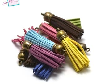 10 great suede 60 mm, bronze Bell, assortment of colors pom poms