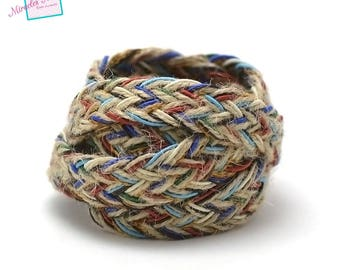 1 m braided strap rope linen 15 mm, multicolored 002