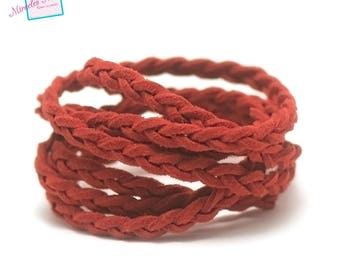 "1 meter ""braided"" Suede, 5 x 2, 5 mm, Red"