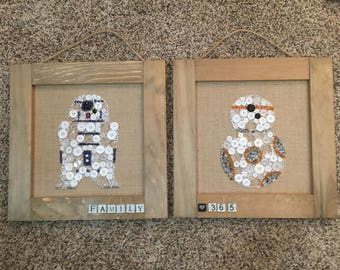 R2D2 OR BB8 Button Art UPICK