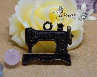 set of 10 QWP075 pendant, bronze, sewing, sewing machine