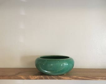 Vintage Ceramic Bowl // Teal Green Centerpiece // Antique Decor