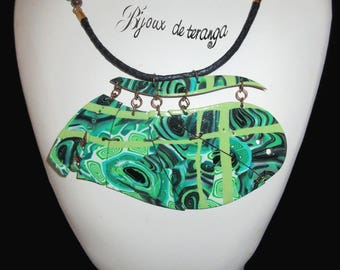 necklace made of polymer clay spring - ref C619