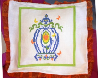 Cushion cover embroidered cross-stitch Butterfly Bird Cage